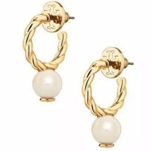 Tory Burch Nautical Gold Pearl Logo Hoop Earrings